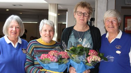 SVLA winners from 10th tee: (from left): Mo Pearson (president), Sheila Burgess, Meg Ramsey (both Wo
