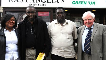 Former Suffolk cricketer Randolph Layne (second from left), who has died aged 81, with fellow former