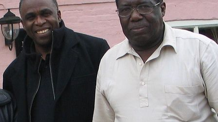 Randolph Layne (right) with Hercules Grant, a fast bowler from Antigua, who played for Suffolk in 19