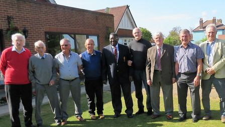 Former Suffolk players who attended Randolph Layne's 80th birthday celebrations at Rushmere Golf Clu