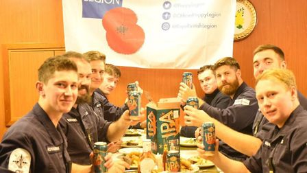 Crew of HMS Argyll enjoying a Greene King IPA on their return from deployment Picture: ROYAL BRITISH