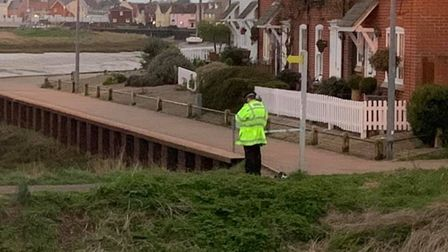 Lots of police officers have been seen in Rowhedge, near Colchester in Essex, after a human jawbone