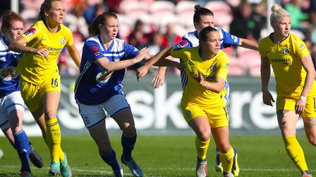 Chelsea's Fran Kirby and Chelsea's Bethany England look to attack the ball from free kick during the