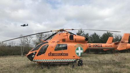 An air ambulance was called to the scene in Mildenhall, where a man in his 50s had suffered a cardia
