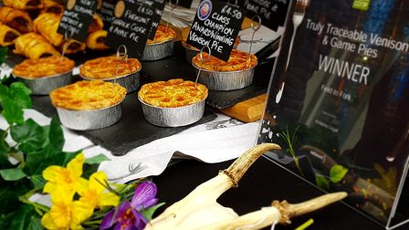 Venison and Game pies on slae at Lavenham Farmers Market