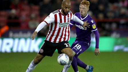 Sheffield United forward David McGoldrick (left). Town go to Bramall Lane in their penultimate game.