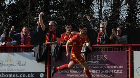 Neeham Market's Jamie Griffiths celebrates after scoing in the 1-1 draw with Coalville. Picture: BEN