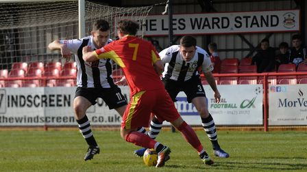 Needham's Joe Marsden charges at the Coalville defence. Picture: BEN POOLEY
