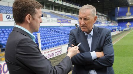 Chris Brammer interviews Terry Butcher at Portman Road Picture: PHIL MORLEY