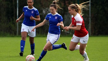 Eloise Young battles for the ball Picture: ROSS HALLS