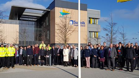 Staff mark the start of the new East Suffolk Council outside the Lowestoft office. Picture: EAST SUF