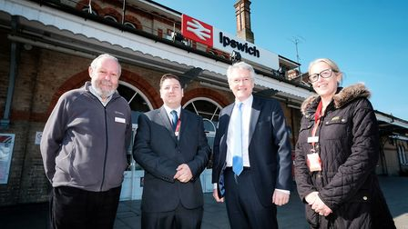 Rail minister Andrew Jones (second right) with David Flavell from the Greater Anglia customer panel
