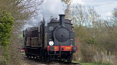 LNER Y7 no. 985 heads al Middy train up to Brockford, Picture: LAWRIE ROSE