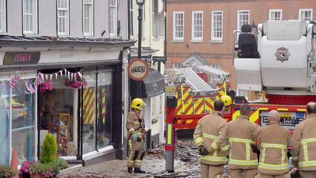 The fire affected a newsagents on Market Place, Halesworth Picture: Nick Butcher