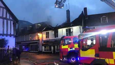 Firefighters tackling the blaze at Halesworth. Picture: Amy Smith
