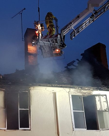 Firefighters tackling the blaze at Halesworth. Picture: Suffolk Fire and Rescue