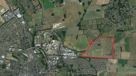 Land off the A143 in Bury St Edmunds which St Joseph Homes is looking to develop for 1,500 propertie