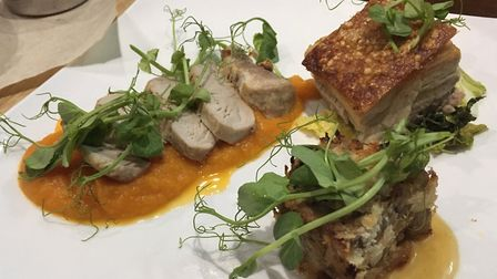A trio of pork at The Greyhound, Wickhambrook Picture: Archant