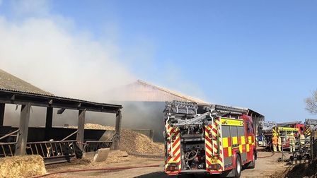 Ixworth Fire Station shared a photo from the scene in Lawshall, where 500 tonnes of straw were aligh