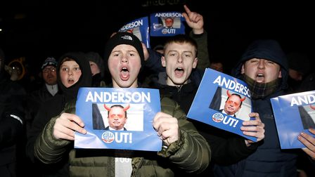 Bolton Wanderers fans protest against chairman and majority stakeholder Ken Anderson. Ipswich Town a