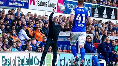 Town manager Paul Lambert looking to assist in getting the ball back in play during first half press
