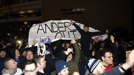 Bolton Wanderers fans protesting against chairman Ken Anderson. Picture: PA SPORT