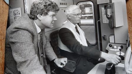 Reporter Paul Geater with Kenneth Silburn driving a steam engine back in 1991 Picture: ARCHANT LIBRA