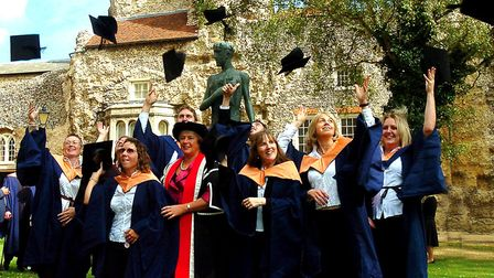 Former West Suffolk College students, such as this graduating class from 2007, are being asked to ge
