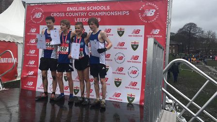 Suffolk's quartet of junior boys on the podium after their top-eight finishes at the English Schools