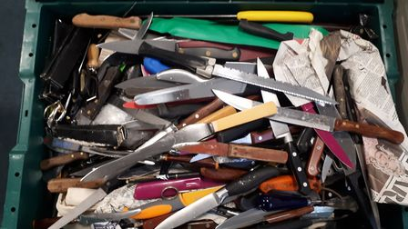 Bury St Edmunds knife amnesty bin saw the highest amount of bladed weapons deposited. Pictures: SUFF