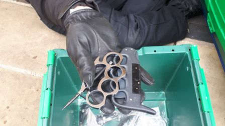 Knuckle dusters were among the weapons found by Suffolk police during Operation Sceptre. Pictures: S