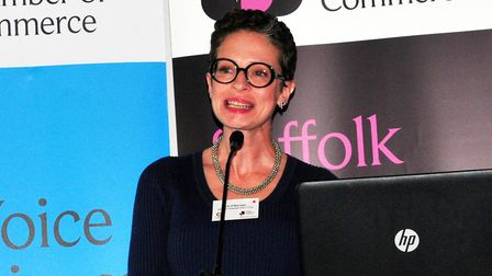 Liz O'Riordan speaking at the Suffolk Business Women's networking lunch held at Trinity Park Ipswich