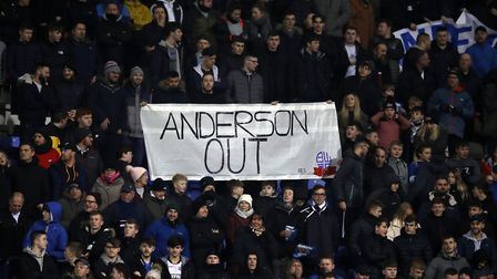 Bolton Wanderers fans protest chairman and majority stakeholder Ken Anderson during the Sky Bet Cham