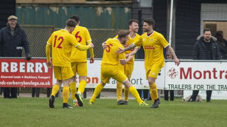 Celebrations as Ryan Twinn makes it two for Walsham in their win over Long Melford. Picture: HANNAH