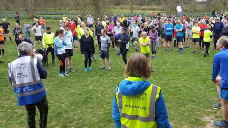Runners, joggers and walkers congregate before the start of Saturday's Bury St Edmunds parkrun. Pict