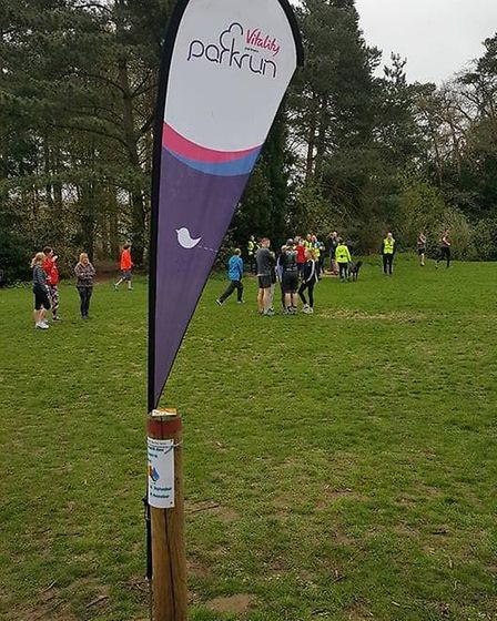 The familiar parkrun flag, at Nowton Park, the home of the weekly Bury St Edmunds parkrun. Picture:
