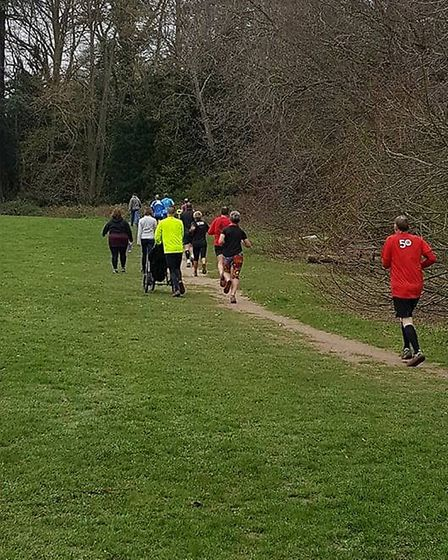 Runners in action during the weekly two-lap challenge at the Bury St Edmunds parkrun. Picture: BURY