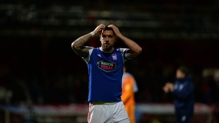 Luke Chambers after the final whistle at Brentford Picture Pagepix