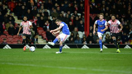 Alan Judge drags a second half chance wide of the target at Brentford Picture Pagepix