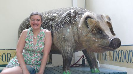 Valerie Osment and her much-loved Hedgepig sculpture for the Pigs Gone Wild art trail in Ipswich in