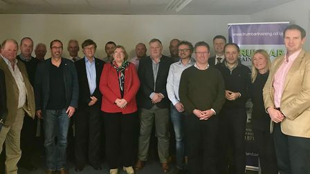 Dr Dan Poulter (far right) with hauliers and representatives of Bidwells after their talks about pro