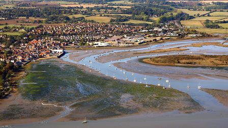 Aerial view of Manningtree and its surrounding wetlands, after it was ranked among the top places to