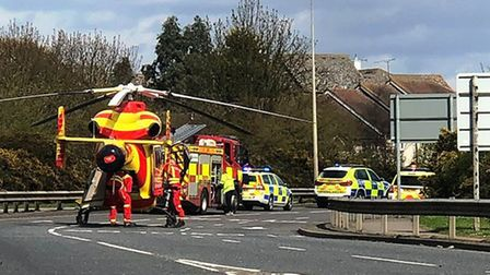The air ambulance was called to an accident that blocked the A134 at Westway in Colchester. Picture: