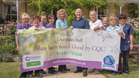 Healthcare Homes Group celebrates CQC ratings. Some of the team at Uvedale Hall in Needham Market w