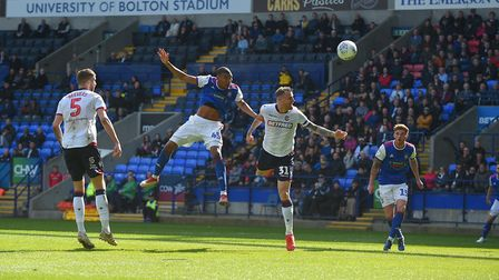 Collin Quaner scores his first goal at Bolton during the first half. Picture Pagepix