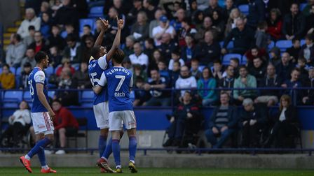 Collin Quaner celebrates scoring his second goal at Bolton during the first half. Picture Pagepix