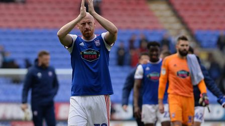 James Collins shows his appreciation for the travelling fans at Bolton Picture Pagepix