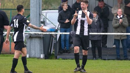 Mark Ray celebrates his 100th career goal for Woodbridge Town in their 4-1 win over Ely City. Pictur
