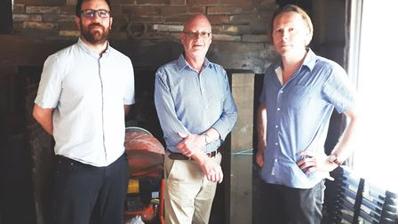 John Nunn, (centre), with Alex McWhirter (right), and Dan Clarke from Moyse's Hall Museum in Bury St