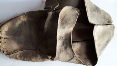 A leather shoe dated 1650, which was found Picture: JOHN NUNN